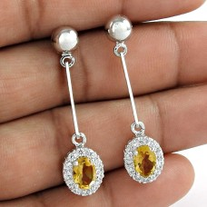 Attravtive Design Rhodium Plated Dangle 925 Sterling Silver Citrine With CZ Gemstone Earrings
