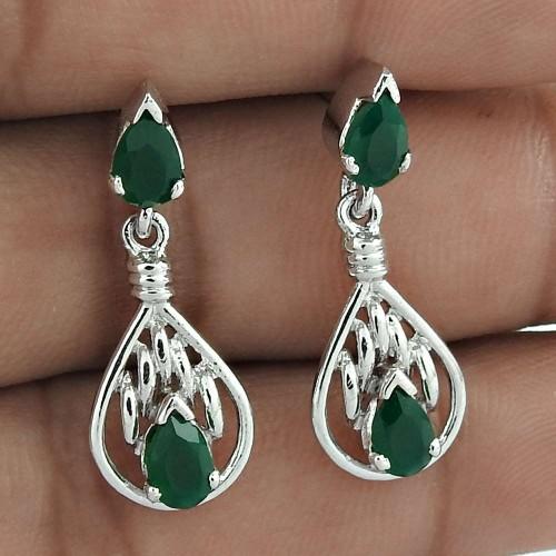 Classy Design 925 Sterling Silver Green Onyx Gemstone Drop Earrings