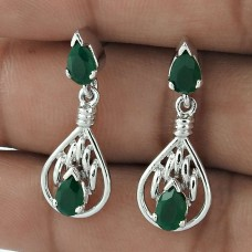 Indian Design 925 Sterling Silver Green Onyx Gemstone Drop Earrings