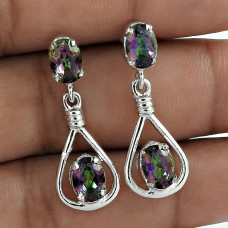 Rainbow Shine 925 Sterling Silver Mystic Topaz Rhodium Plated Drop Earrings