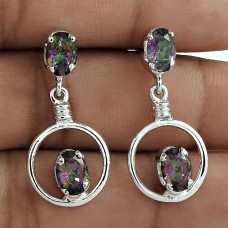Magical Mystic Topaz 925 Sterling Silver With Rhodium Plating Dangle Earrings For Women