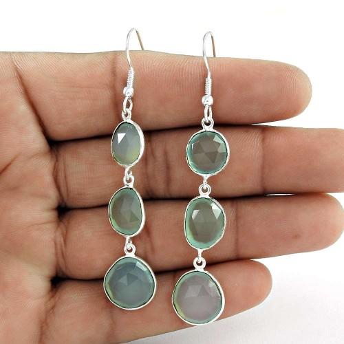 Top Sale Aqua Chalcedony Gemstone 925 Sterling Silver Dangle Earrings