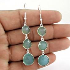 Top Sale Aqua Chalcedony Gemstone Earring 925 Sterling Silver Danglers
