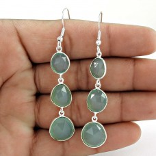 Natural Beauty Aqua Chalcedony Gemstone 925 Sterling Silver Dangle