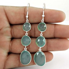 Irregular Shape Gemstone Connectors Earrings 925 Sterling Silver Jewelry
