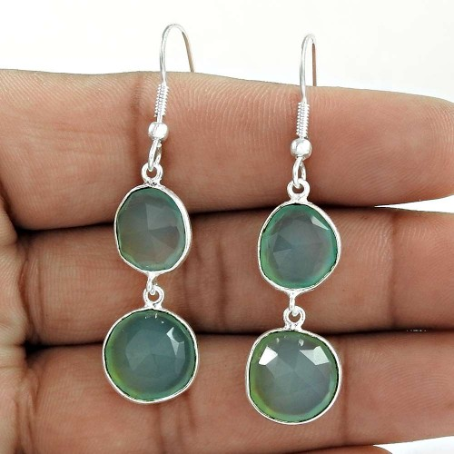Extremely Beautiful 925 Sterling Silver Chalcedony Gemstone Earrings