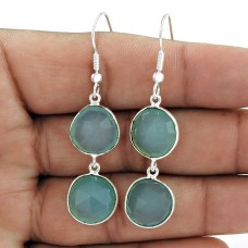 Impressive Design 925 Sterling Silver Gemstone Earrings With Chalcedony Gemstone