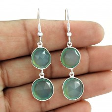 Faceted Bezel Connectors 925 Sterling Silver Aqua Chalcedony Gemstone Earrings