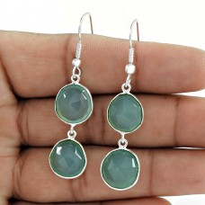 Plausible Beauty Silver Jewelry 925 Sterling Silver Aqua Chalcedony Earrings For Gift
