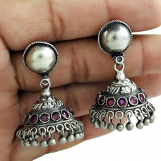 Antique Look 925 Oxidized Sterling Silver Ruby Gemstone Earring Jewelry