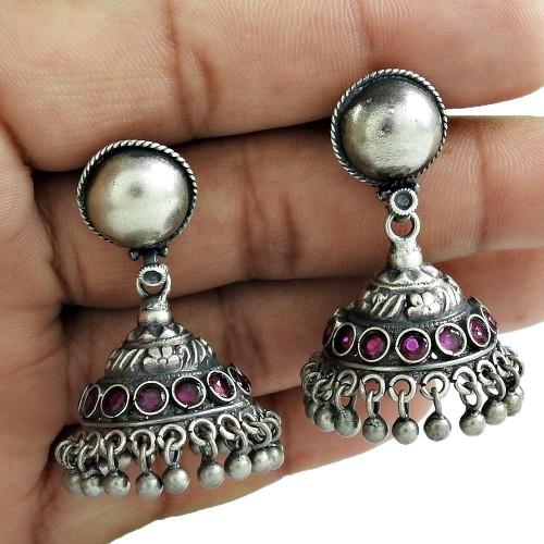 Antique Look 925 Oxidized Sterling Silver Ruby Gemstone Earring Jewelry