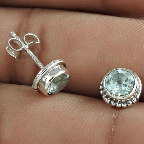 Graceful 925 Sterling Silver Blue Topaz Gemstone Earring Jewelry
