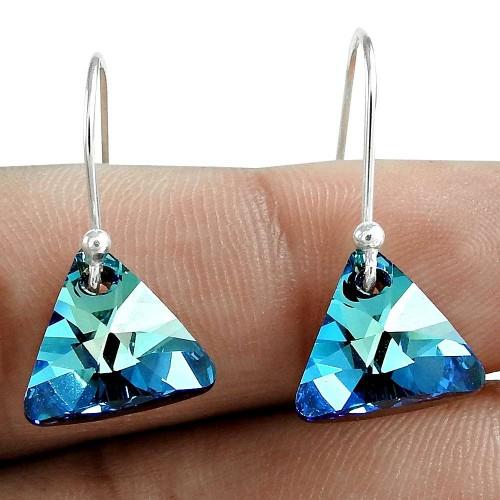 Swarovski Crystal Gemstone Earring 925 Sterling Silver Women Gift Jewelry