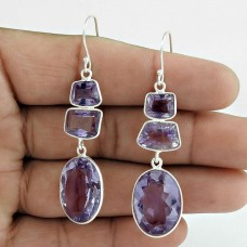 Amethyst Gemstone Earring 925 Sterling Silver Women Fashion Jewelry