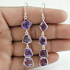 Amethyst Gemstone Earring 925 Sterling Silver Stylish Jewelry Wholesaler