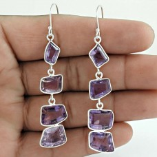 Amethyst Gemstone Earring 925 Sterling Silver Women Fashion Jewelry Wholesale