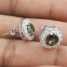 Scenic Rhodium Plated 925 Sterling Silver Mystic, White C.Z Gemstone Earring Handmade Jewelry B53