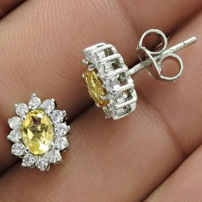 Designer Rhodium Plated 925 Sterling Silver Citrine CZ Gemstone Earring Traditional Jewelry