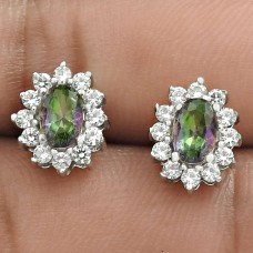 Pleasing Rhodium Plated 925 Sterling Silver Mystic, White C.Z Gemstone Earring Handmade Jewelry B56