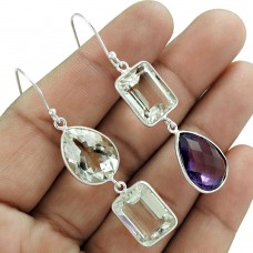 Mismatched Earrings Crystal Amethyst Gemstone Sterling Silver Traditional Jewelry