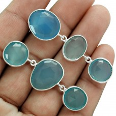 Party Wear Mismatched Earrings Chalcedony Gemstone Sterling Silver Ethnic Jewelry