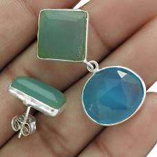 Chalcedony Gemstone 925 Sterling Silver Mismatched Earrings Fashion Jewelry