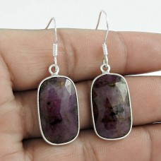 Possessing Good Fortune 925 Sterling Silver Ruby Gemstone Earring Traditional Jewelry