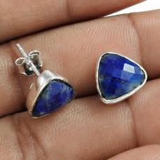 Rattling 925 Sterling Silver Lapis Gemstone Stud Earring Jewelry