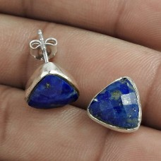Scrumptious 925 Sterling Silver Lapis Gemstone Stud Earring Jewelry