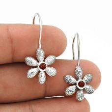 Stylish 925 Sterling Silver Garnet Gemstone Flower Earring Jewelry H17