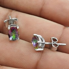 Dainty Rhodium Plated 925 Sterling Silver Mystic Topaz Gemstone Earring Vintage Jewelry B60