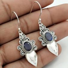 Labradorite Gemstone Earring 925 Sterling Silver Tribal Jewelry AZ5