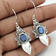 Labradorite Gemstone Earring 925 Sterling Silver Vintage Look Jewelry ED6