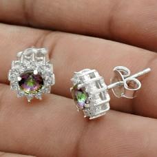 Classic Rhodium Plated 925 Sterling Silver Mystic, White C.Z Gemstone Earring Handmade Jewelry B87