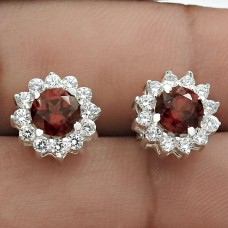 Amusable Rhodium Plated 925 Sterling Silver Garnet, White C.Z Gemstone Earring Handmade Jewelry B88