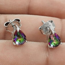 Pleasing Rhodium Plated 925 Sterling Silver Mystic Topaz Gemstone Earring Handmade Jewelry C6