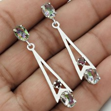 Party Wear Rhodium Plated 925 Sterling Silver Garnet, Mystic Gemstone Earring Ethnic Jewelry C8