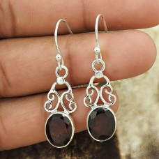HANDMADE 925 Solid Sterling Silver Jewelry Natural GARNET Gemstone Earring EE57