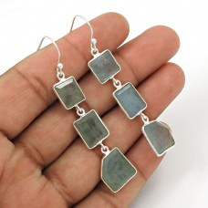 Aquamarine Gemstone Earring 925 Sterling Silver Ethnic Jewelry ER21
