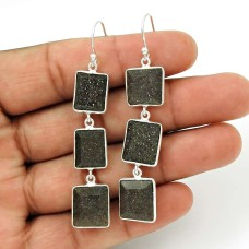 Black Sunstone Earring 925 Sterling Silver Vintage Jewelry ER36