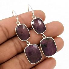 Natural MULTI SAPPHIRE Gemstone Earring 925 Sterling Silver HANDMADE Jewelry MM1