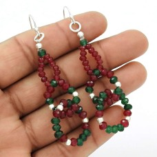 HANDMADE 925 Sterling Silver Jewelry Natural RUBY EMERALD Beaded Earring AQ8