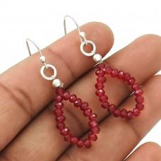 Natural RUBY Gemstone Beaded Earring 925 Silver HANDMADE Fine Jewelry AH6