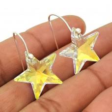 Swarovski Crystal Gemstone Earring 925 Sterling Silver Vintage Jewelry Y7