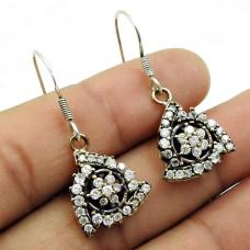 CZ Gemstone Boho Earring 925 Sterling Silver Vintage Look Jewelry B8