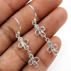 Pink CZ White CZ Gemstone Earring 925 Sterling Silver Handmade Jewelry E8