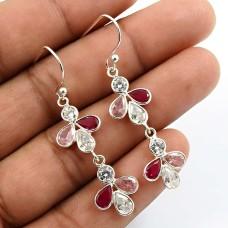 Pear Shape Pink Cz Ruby White Gemstone Earrings 925 Sterling Silver Jewelry H9