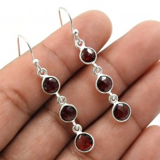 Garnet Gemstone Earring 925 Sterling Silver Handmade Indian Jewelry J16