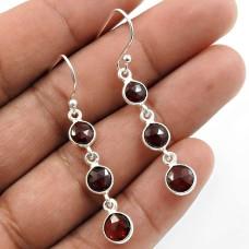 Garnet Gemstone Earring 925 Sterling Silver Traditional Jewelry L16