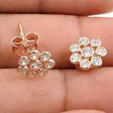 Rose Gold Plated 925 Sterling Silver White CZ Gemstone Earring Vintage Look Jewelry R17
